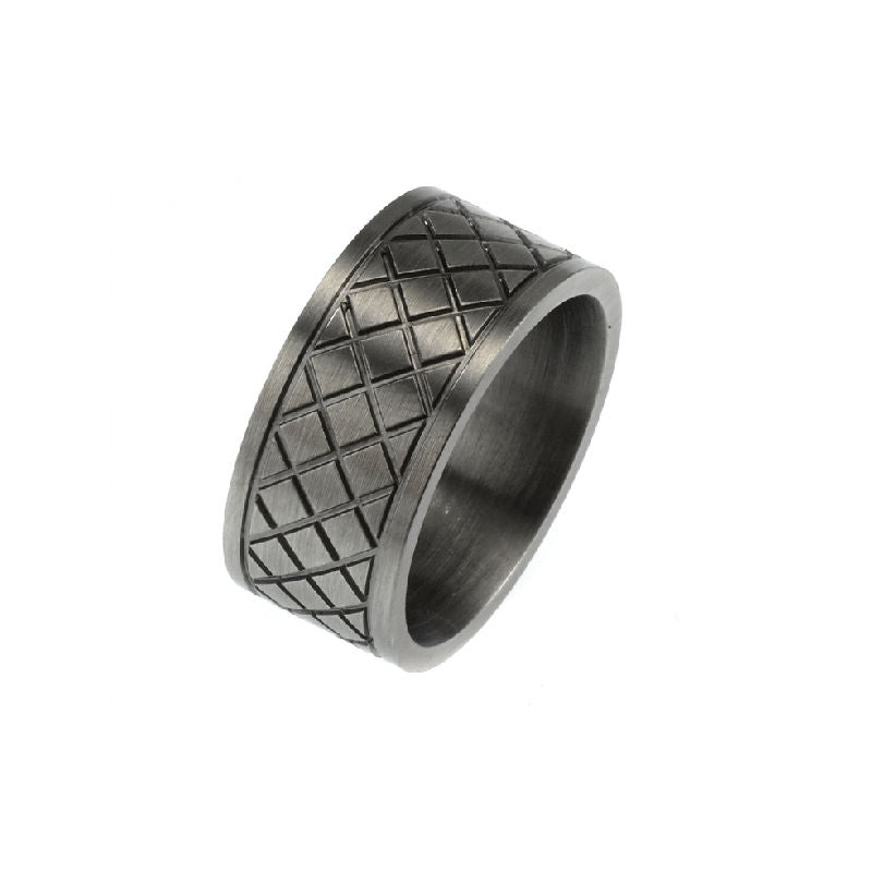 Ion Plated Antique Gunmetal Cross Pattern Stainless Steel Ring - Theodore Designs