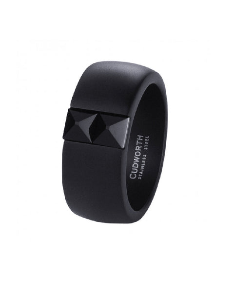 Black Cubic Zirconia on Brushed Black Ion Plated Stainless Steel Ring
