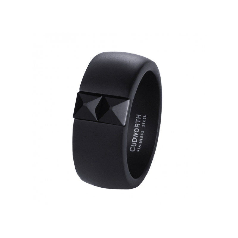 Black Cubic Zirconia on Brushed Black Ion Plated Stainless Steel Ring - Theodore Designs