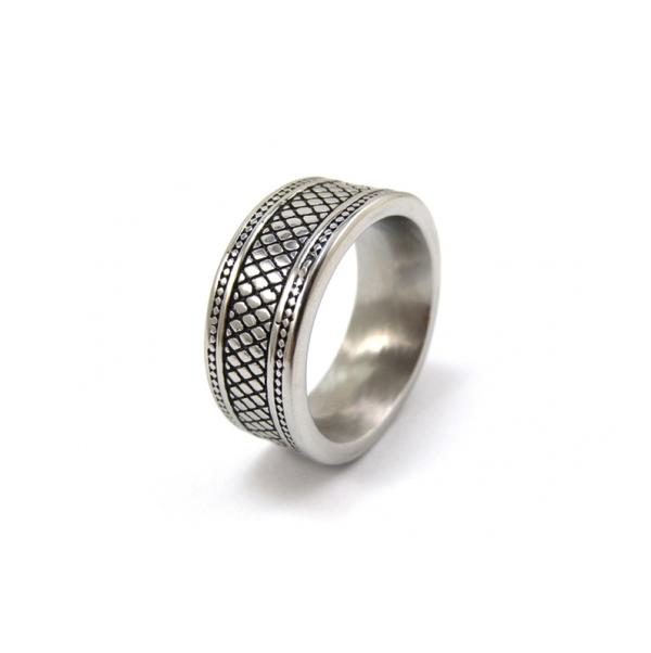 Brushed Stainless Steel with Ion Plated Black Lattice Pattern Ring - Theodore Designs