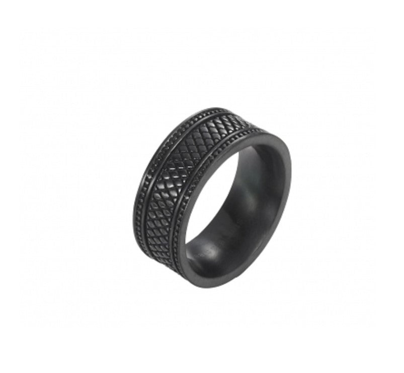 Ion Plated Black Stainless Steel pattern Ring - Theodore Designs