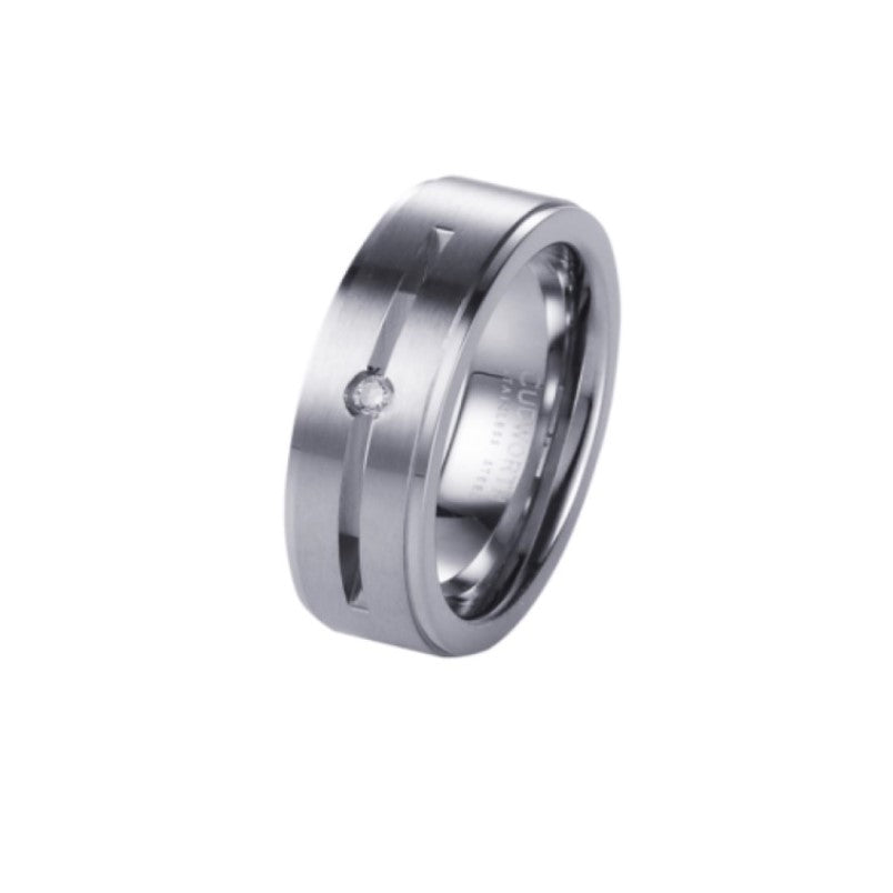 Stainless Steel Ring with Cubic Zirconia in Centre - Theodore Designs