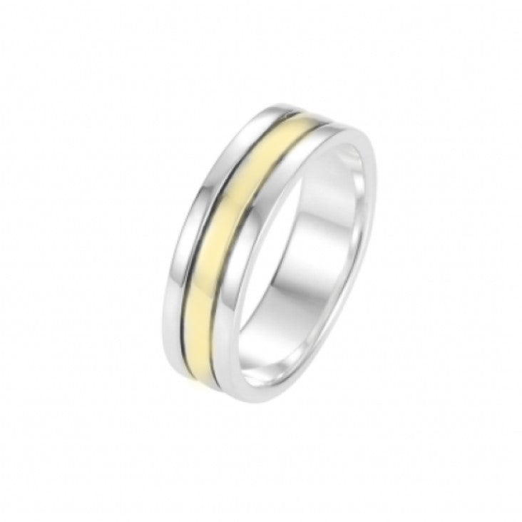 Polished Rhodium Plated Sterling Silver Ring with Yellow Gold and Black Plated Center Bands - Theodore Designs