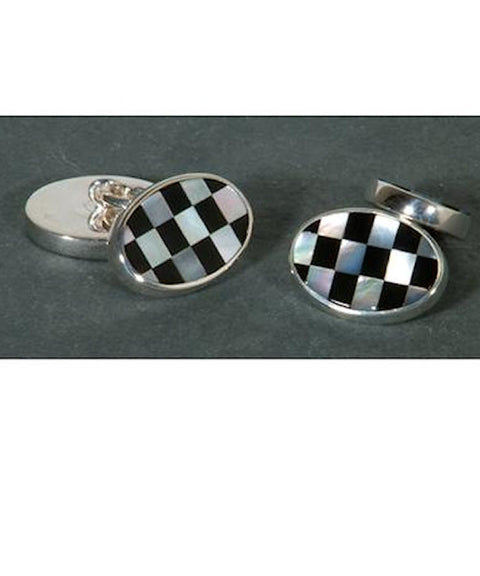 Sterling Silver Mother of Pearl and Onyx Cufflink - Theodore Designs