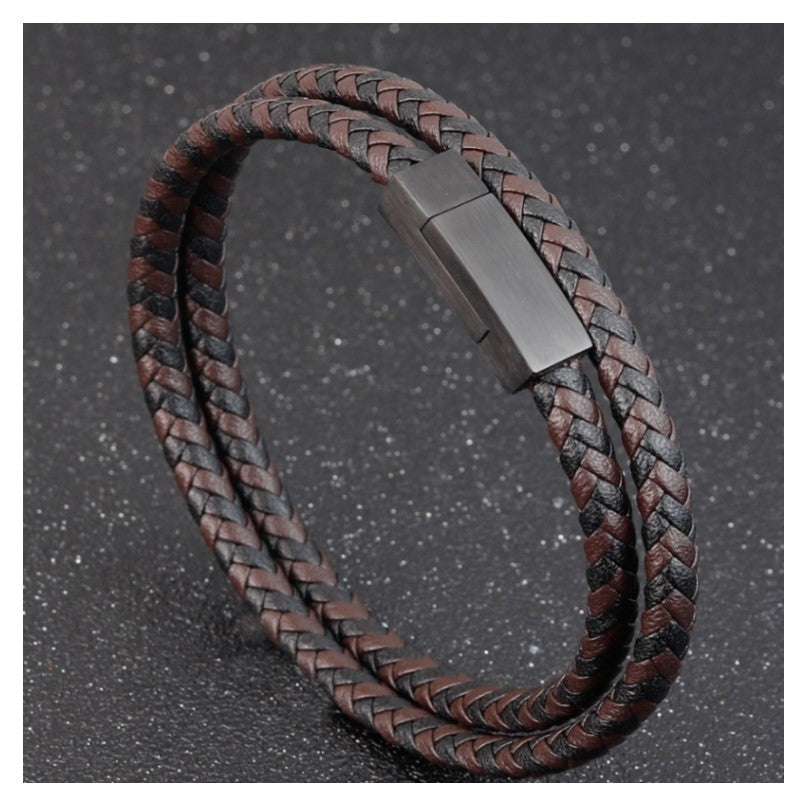 Black Brown  Multi-layer Woven Leather And Stainless Steel Combination Bracelet - Theodore Designs