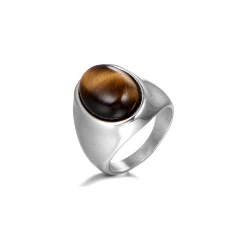 Stainless Steel Men's Tiger Eye High Polished  Signet Ring - Theodore Designs