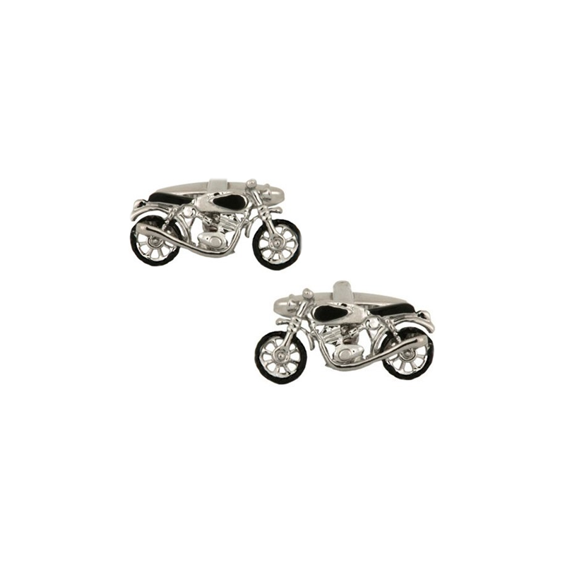 Motor Bike Rhodium Plated Cufflinks - Theodore Designs