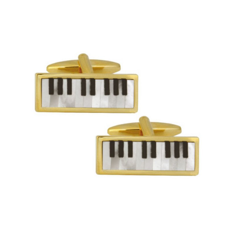 Piano Keyboard Mother of Pearl and Onyx Gold Plated Cufflinks - Theodore Designs