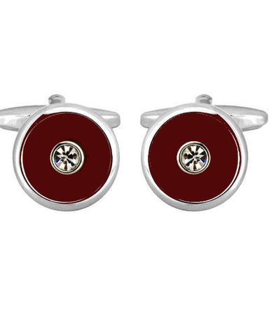 Burgundy Enamel and Crystal Cufflinks - Theodore Designs