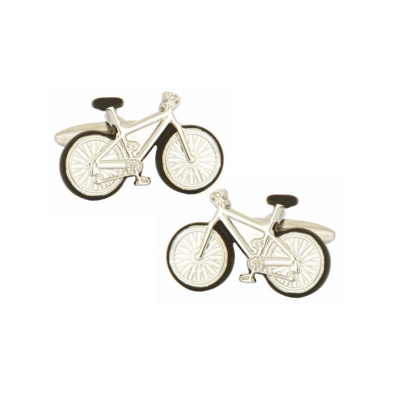 Bicycle with Black Trim Rhodium Plated Cufflinks - Theodore Designs