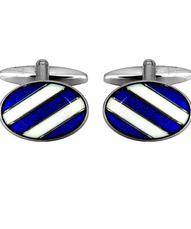 Blue and White Enamel Cufflinks - Theodore Designs