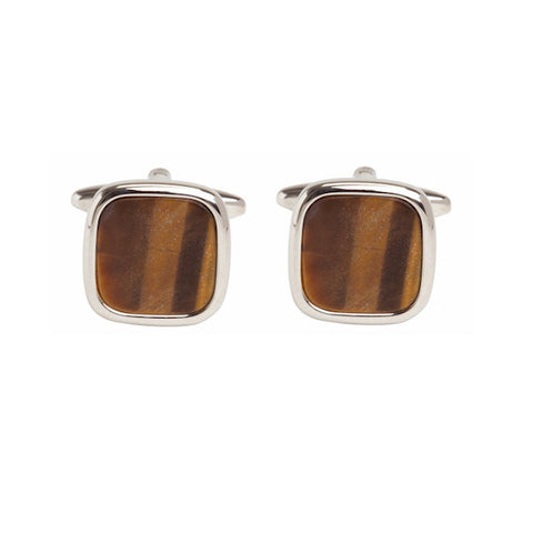 Cushion Tiger Eye Cufflinks - Theodore Designs
