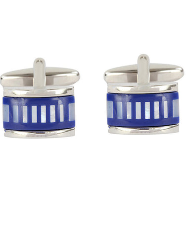 Mother of Pearl and Blue Stripe Cufflinks - Theodore Designs