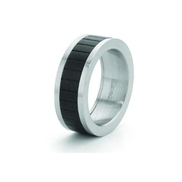 Brushed Stainless Steel Ring with Ion Plated Matt Black Band - Theodore Designs