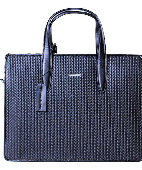 Cudworth Basket Weave Leather Briefcase Tote Bag - Theodore Designs