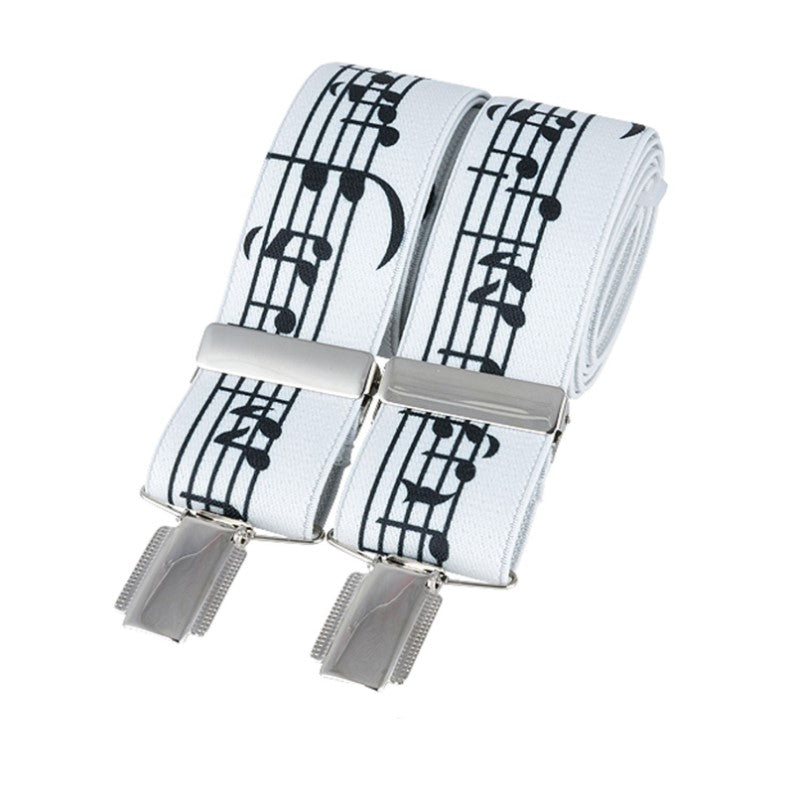 Music Notes on white silver clip braces - Theodore Designs