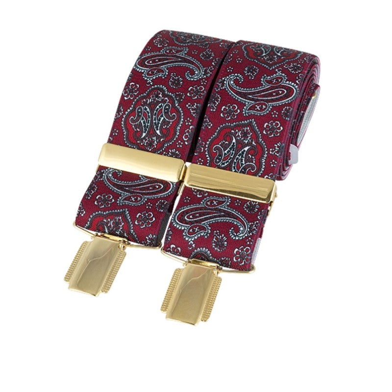 Burgundy Paisley gold clip braces - Theodore Designs