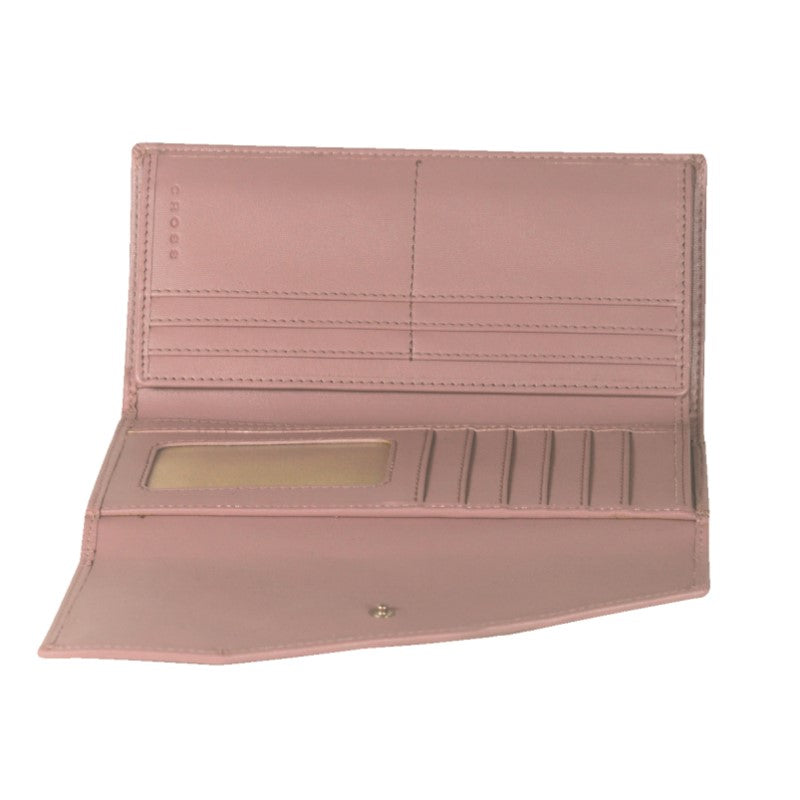 Processed Leather Women's wallet with flap, zip and a window for id - Theodore Designs
