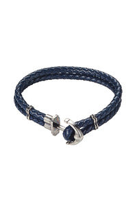 Stainless Steel Anchor Leather Bracelet