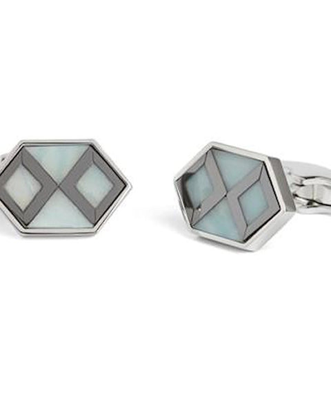 Simon Carter Deco Hexagon Amazonite And Haematite Cufflinks - Theodore Designs