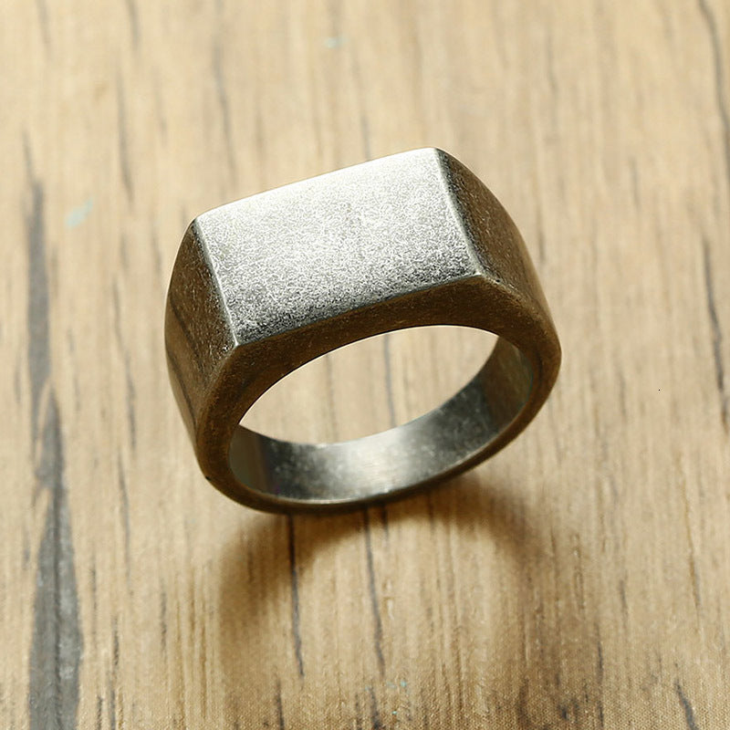 Stainless Steel men's Oxidized silver Signet Ring - Theodore Designs