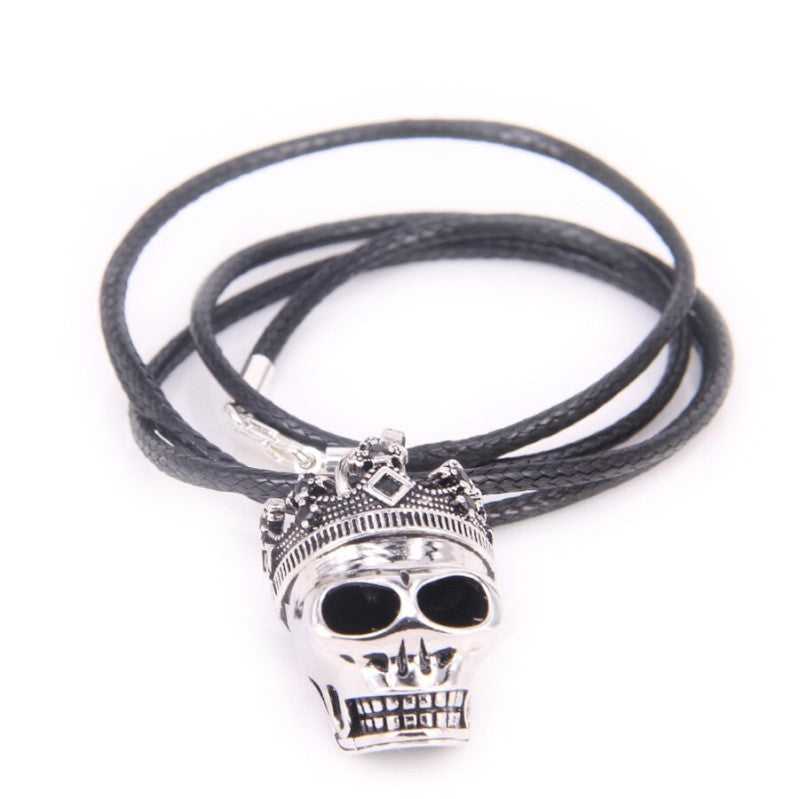 Skull King with Crown Pattern Beads Necklace - Theodore Designs