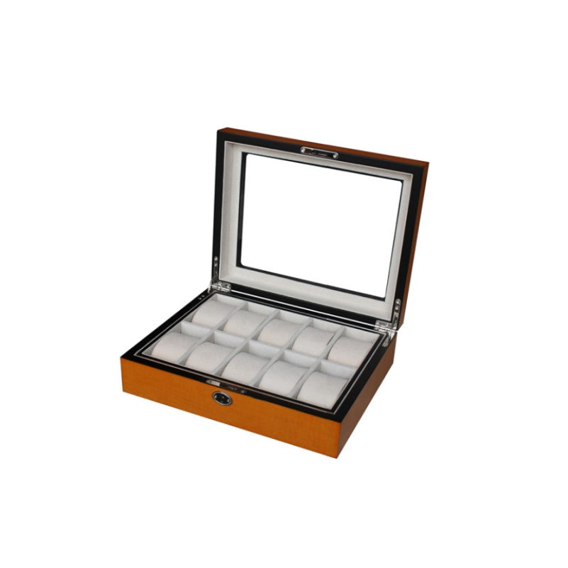 High Quality Wooden Yellow Oak Watch box with Ivory Velvet  10 Piece Watch Display Case - Theodore Designs