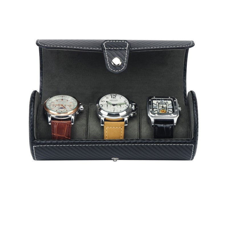 Three Watch Roll Travel Leather Case - Theodore Designs