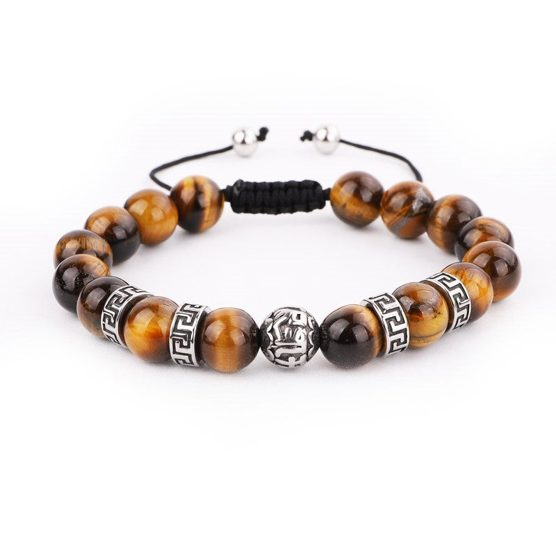 Theodore Macramé Tiger Eye and and Stainless Steel  Spacer Beads Bracelets - Theodore Designs
