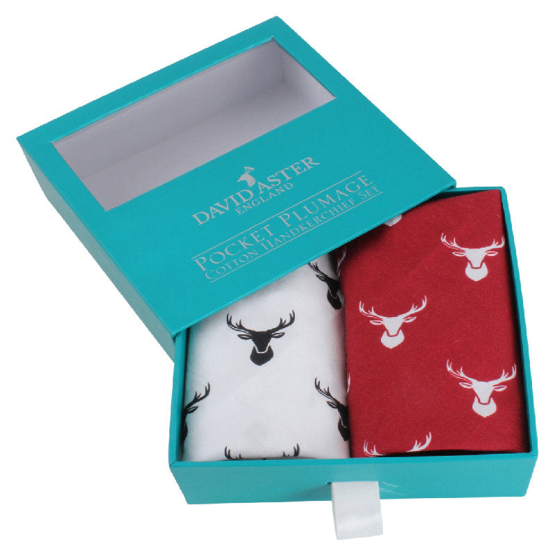 David Aster Royal Hart Stag Handkerchief Set - Theodore Designs