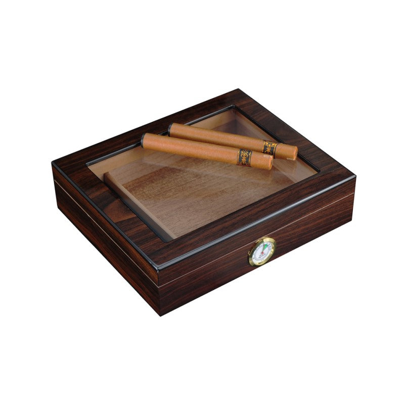 Small Wooden Cigar Humidor Gift Set with Ashtray and Cutter - Theodore Designs