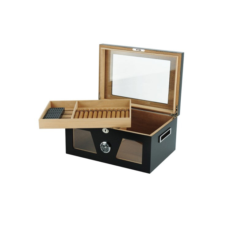 Humidor Lacquered Wood Large Capacity Cigar Box with Digital Hygrometer - Theodore Designs