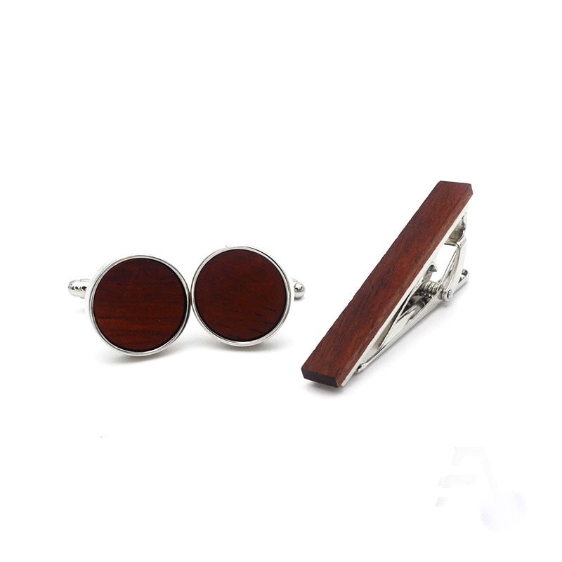 Theodore Rhodium Plated Wood Inlay Cufflink and Tie Bar Set - Theodore Designs