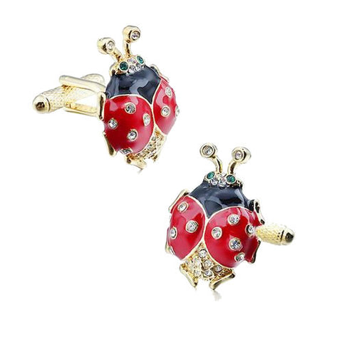 Theodore Crystal And Enamel Ladybug Cufflinks - Theodore Designs