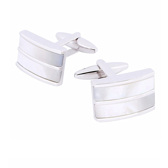 Theodore Mother Of Pearl D Shape Cufflinks - Theodore Designs