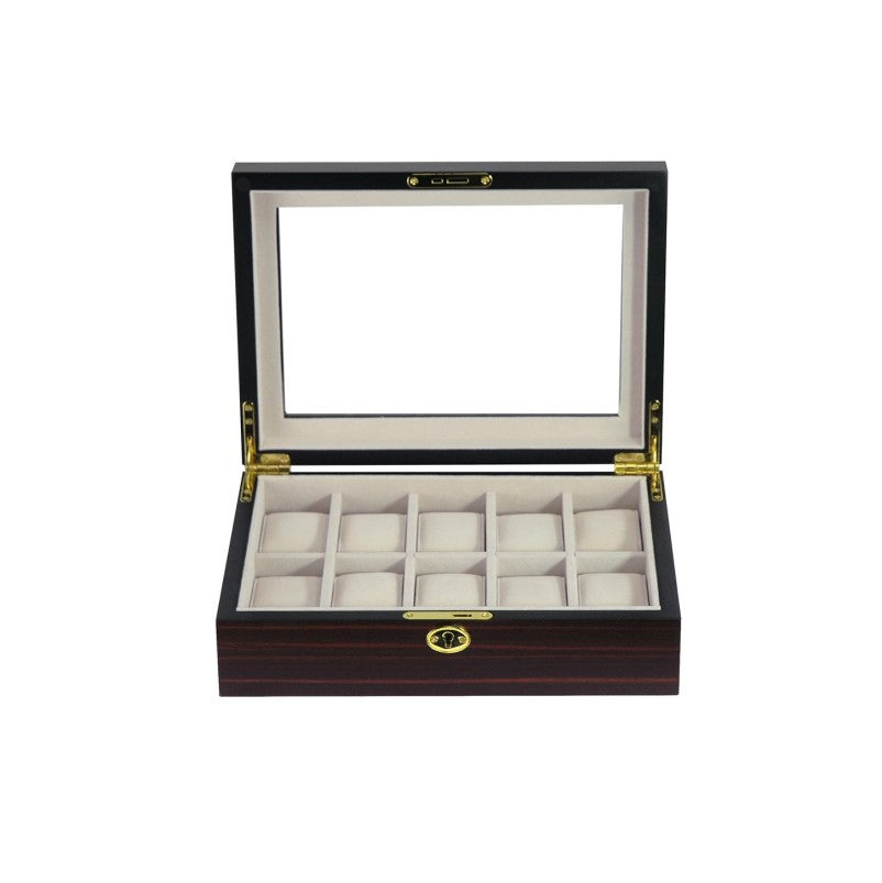 Classic Ebony Wooden Watch Box for 10 Piece Watch Display Case - Theodore Designs