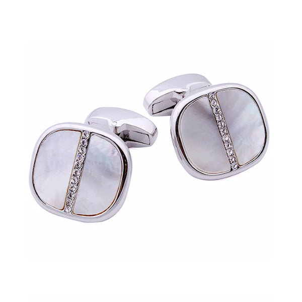 Theodore Cushion Mother of Pearl and Crystal Cufflinks - Theodore Designs