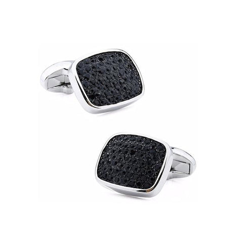 Theodore Rectangle shaped Cushion Black Crystal Cufflinks - Theodore Designs