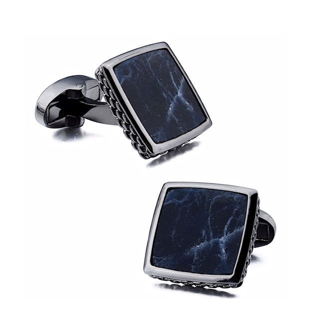 Theodore Mother Of Pearl /Sodalite Square Cufflinks - Theodore Designs