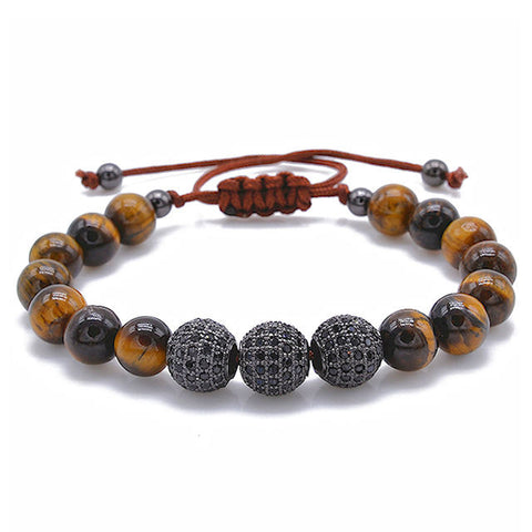 Theodore Macrame Tiger Eye and Micro Pave Black CZ Beads Bracelet - Theodore Designs