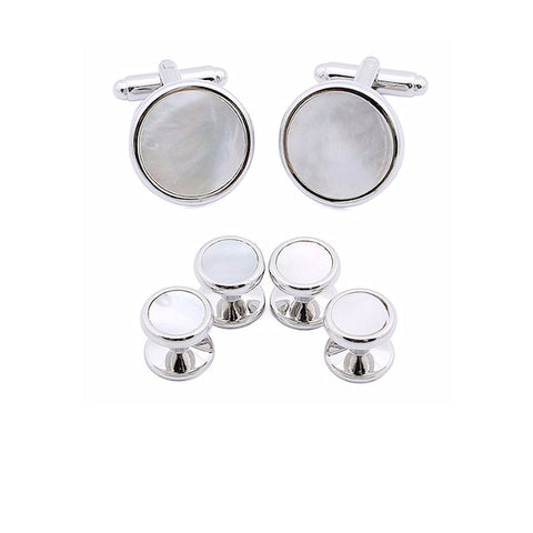 Theodore Mother of Pearl Cufflinks and Tuxedo Studs Set - Theodore Designs