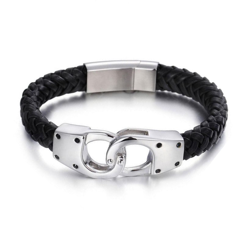 Theodore Stainless Steel Black Braided Leather Bracelet - Theodore Designs