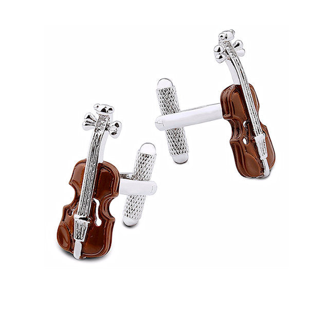 Theodore Wood-Bodied Violin Enamel Cufflinks - Theodore Designs