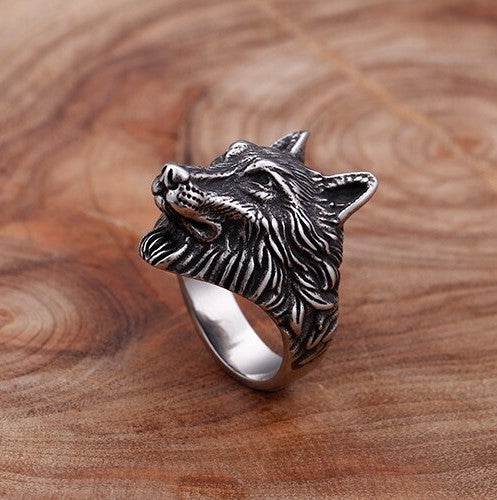 Stainless Steel Wolf Head Pattern  Ring - Theodore Designs