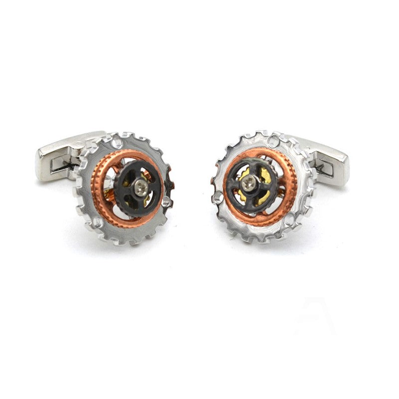 Rotatable Bicycle Gear Rhodium Trio Color Plated Cufflinks - Theodore Designs