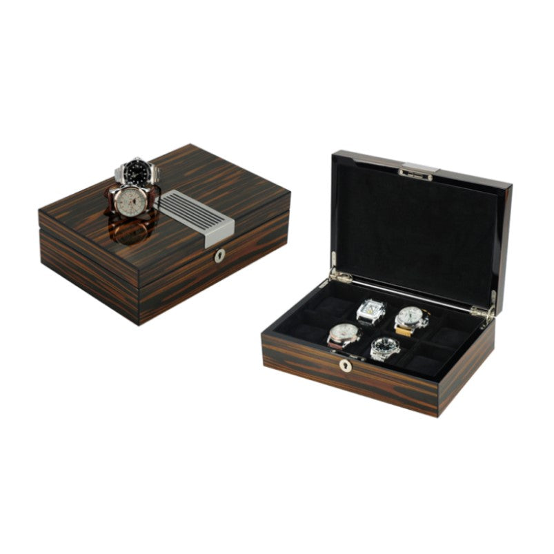 Luxurious Ebony Lacquered 8 Slots Wooden Wrist Watch Box with Lock - Theodore Designs