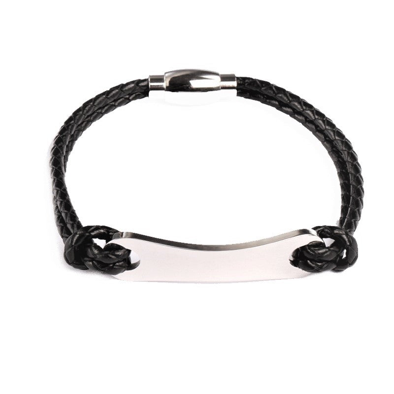 Theodore Stainless Steel with Black Leather  ID Bracelet - Theodore Designs