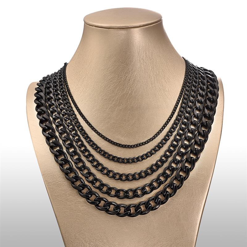 Theodore Stainless Steel Black IP Plated Curb Link Chain Necklace - Theodore Designs