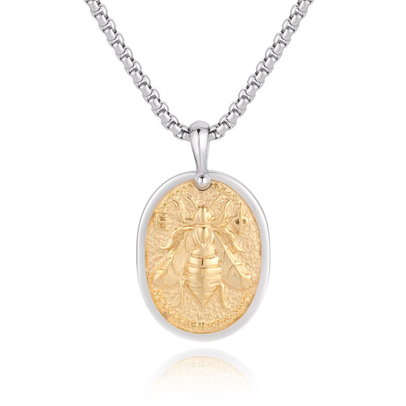 Theodore Stainless Steel and Gold Honey Bee Pendant - Theodore Designs