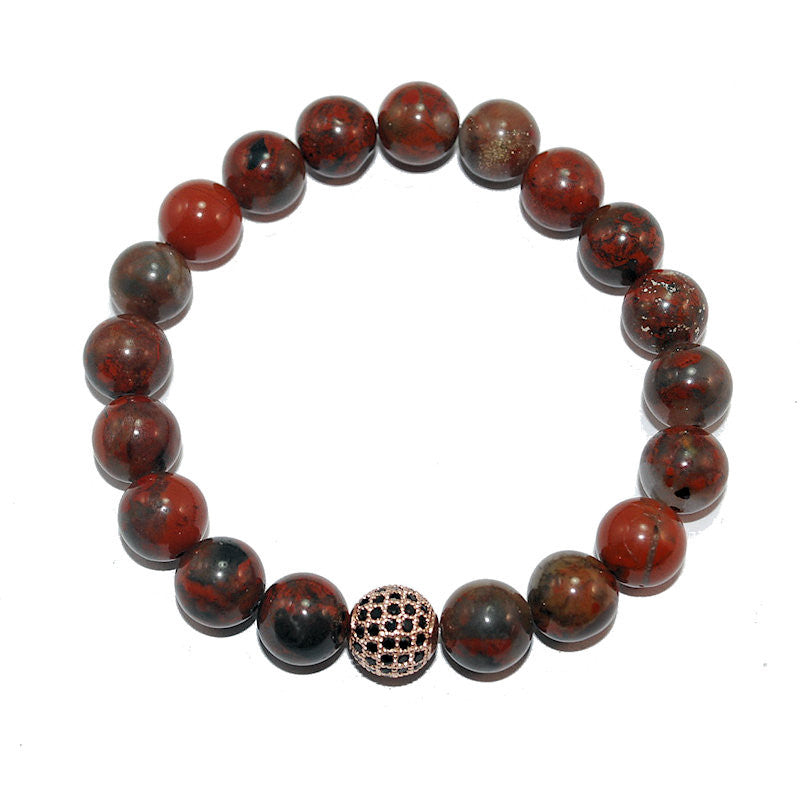 Theodore Poppy Jasper and Micro Pave Beads Bracelet - Theodore Designs